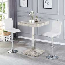 Topaz Bar Table In Grey Oak Effect With 2 Ripple White Stools