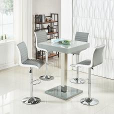 Topaz Modern Bar Table In Grey High Gloss With 4 Ritz Stools