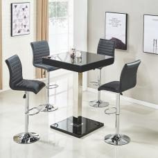 Topaz Glass Top Bar Table In Black High Gloss With 4 Ripple Stoo