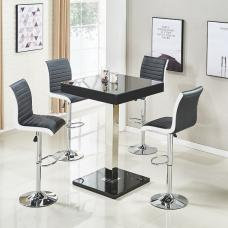 Topaz Glass Top Bar Table In Black High Gloss With 4 Ritz Stools