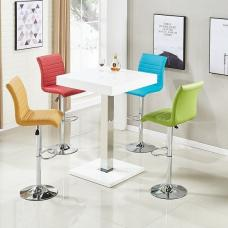 Topaz Bar Table In White High Gloss 4 Ripple Multicolor Stools