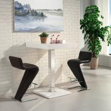 Topaz Bar Table In White High Gloss With 2 Farello Black Stools