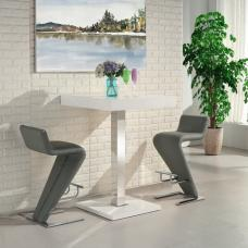 Topaz Bar Table In White High Gloss With 2 Farello Grey Stools