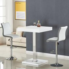 Topaz Bar Table In White Gloss With 2 Ritz White Grey Stools