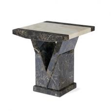 Topix Wooden Marble Effect Lamp Table Square In Brown And Cream