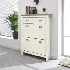Toska Shoe Storage Cabinet In Cream With Oak Effect Top