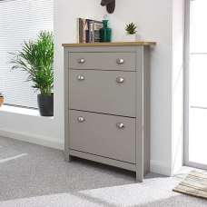 Toska Shoe Storage Cabinet In Grey With Oak Effect Top