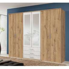 Tracy Mirrored Wardrobe Large In Planked Oak Effect And White