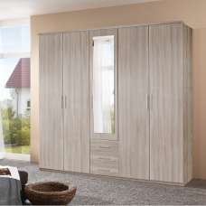 Tracy Mirrored Wardrobe In Oak Effect With 5 Doors And 3 Drawers
