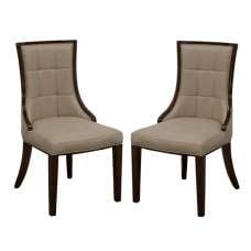 Trento Dining Chair In Latte PU And Dark Brown In A Pair