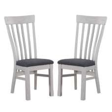 Trevino Wooden Dining Chairs In Antique Grey In A Pair