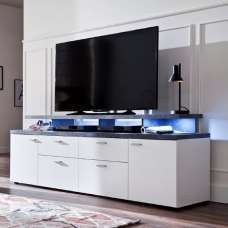 Treviso Wooden TV Stand In White And Stone Dark Grey With LED
