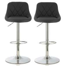 Trezzo Modern Bar Stool In Black Faux Leather In A Pair