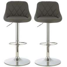 Trezzo Modern Bar Stool In Grey Faux Leather In A Pair