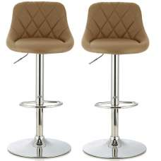 Trezzo Modern Bar Stool In Taupe Faux Leather In A Pair