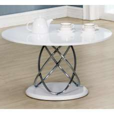 Trias Modern Coffee Table Round In White High Gloss