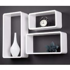 Tribeca Set of 3 Wall Mounted Shelves In White