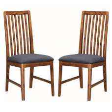 Trimble Wooden Dining Chair In Rich Acacia In A Pair