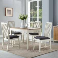 Trimble Dining Table In Spanish White With Four Dining Chairs