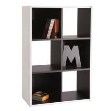Trinity Bookcase In White And Black With 6 Compartments