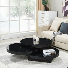 Triplo Rotating Coffee Table Round In Black High Gloss