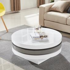 Triplo Rotating Coffee Table In White And Grey High Gloss