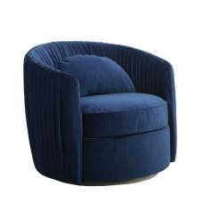 Tulsa Fabric Arm Chair In Blue Brushed Velvet