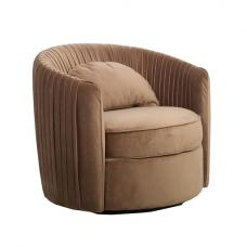 Tulsa Modern Fabric Arm Chair In Natural Velvet