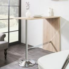 Tuscon Bar Table Rectangular In Sonoma Oak With Chrome Legs
