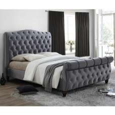 Tuxford Super King Size Bed In Grey Velvet With Dark Wood Feet