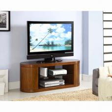 Curved Wooden LCD TV STand In Walnut Veneer