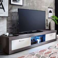 Tenus TV Stand In White And Smoky Silver With 2 Doors And LED