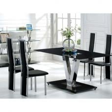 V Range Black Glass Dining Table In 160cm Only
