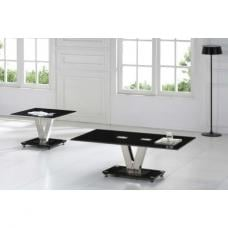 Black Glass End Table With V Chrome Shape Base
