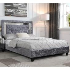 Valdina Double Bed In Crushed Velvet Silver With Mirror Edge Hea