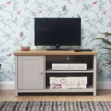 Valencia Wooden Small TV Stand In Grey With 1 Door