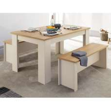 Valencia Wooden Small Dining Table With 2 Benches In Cream
