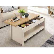 Valencia Wooden Coffee Table In Cream With Sliding Top
