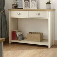 Valencia Wooden Console Table In Cream With 2 Drawers