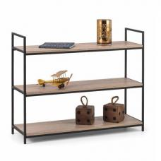 Valencia Low Bookcase In Sonoma Oak And Black Metal Frame
