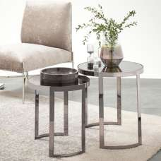 Valtos Mirrored Nest Of 2 Tables In Smoked And Black Nickel Base