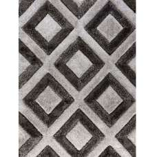 Velvet 3D Diamonds Silver And Charcoal Rug