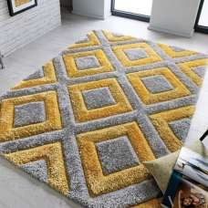 Velvet 3D Diamonds Silver And Ochre Rug
