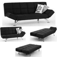 Venice Sofa Bed Faux Leather In Black With Chrome Legs