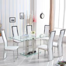 Holly Dining Table In Clear Glass With 6 Collete White Chairs