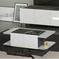 Venice Coffee Table In White High Gloss And Slate Effect Details