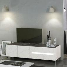 Venice TV Stand In White High Gloss And Slate With Lighting