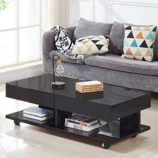 Verona Storage Glass Coffee Table In High Gloss Black