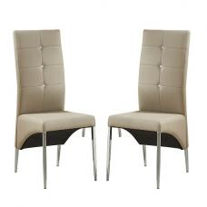 Vesta Studded Dining Chair In Taupe Faux Leather In A Pair