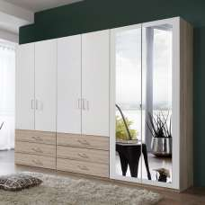 Vestra Mirror Wardrobe Wide In Oak Effect And White With 6 Doors